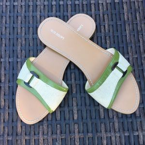 Lands' End sandals natural canvas green leather 8B